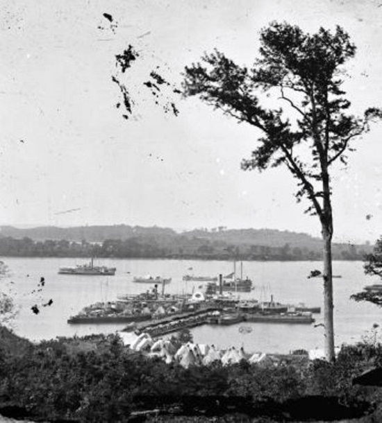 View of camp and transports, Belle Plain Landing, VA