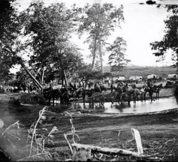 Federal battery fording the river  on the day of battle at Cedar Mountain, VA