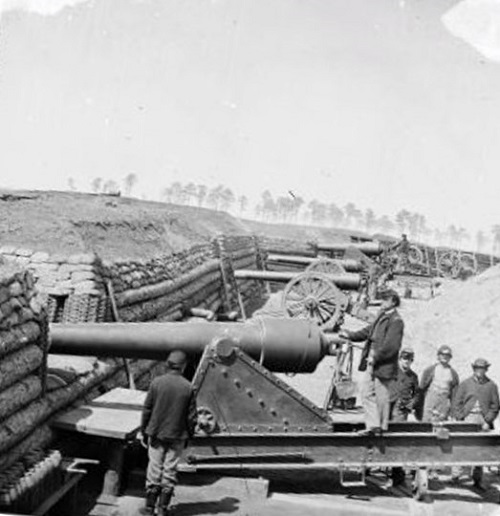 Battery of Parrott guns manned by Company C, 1st CT Heavy Artillery, Fort Brady, VA